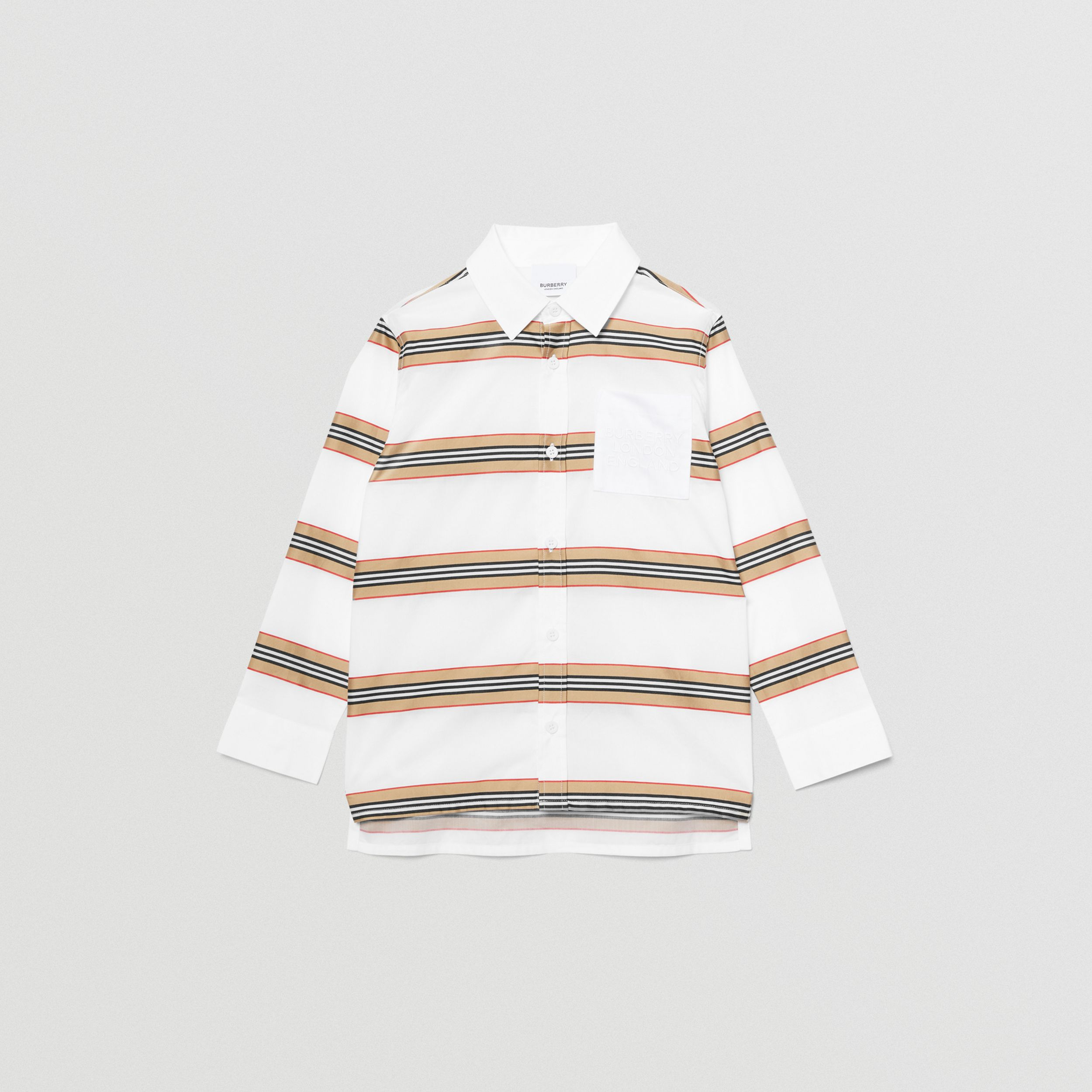 Embroidered Logo Icon Stripe Cotton Shirt in White | Burberry - 1