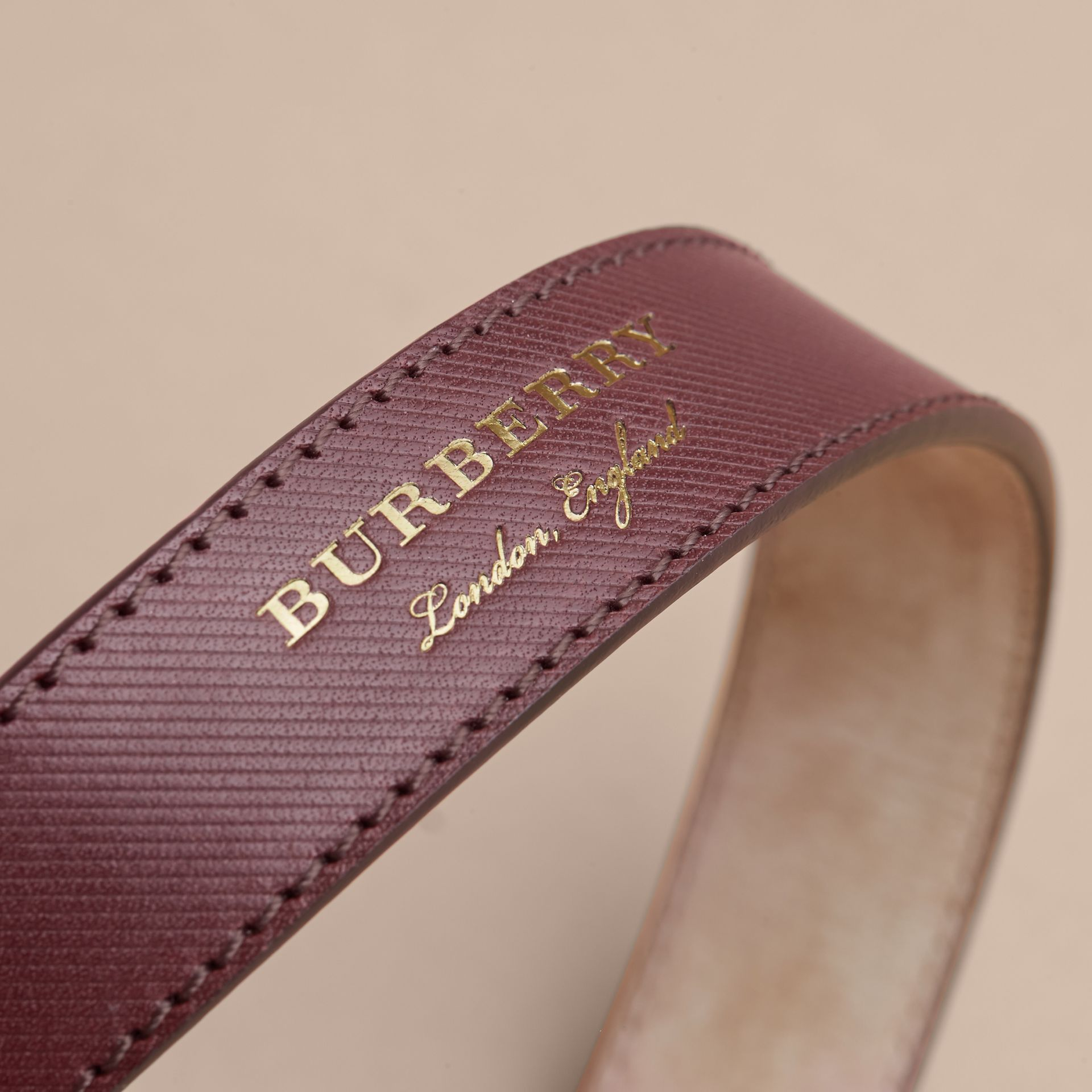 Trench Leather Belt in Wine - Men | Burberry - gallery image 2