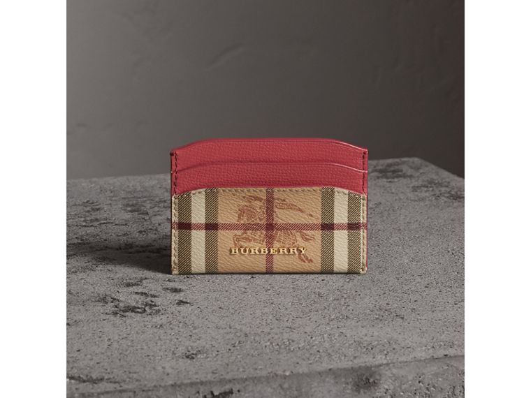 Haymarket Check and Leather Card Case in Coral Red - Women | Burberry United States - cell image 4