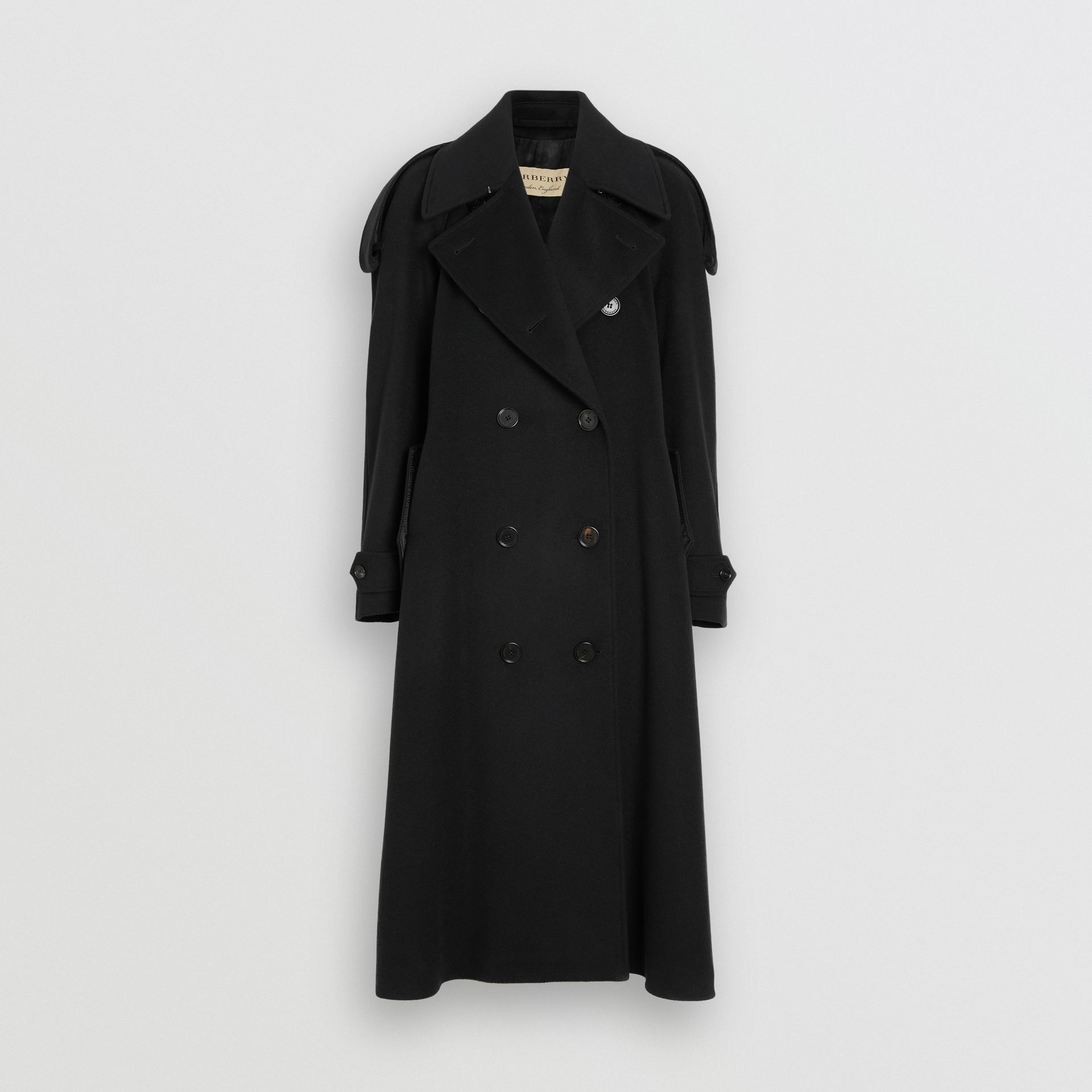 Wool Cashmere Double-breasted Coat in Black - Women | Burberry Canada - gallery image 3