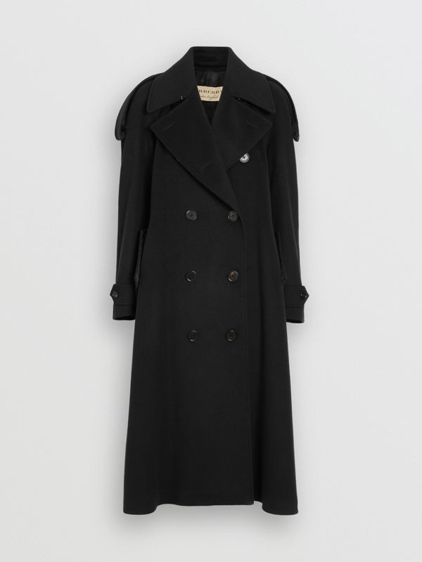 Wool Cashmere Double-breasted Coat in Black - Women | Burberry Canada - cell image 3