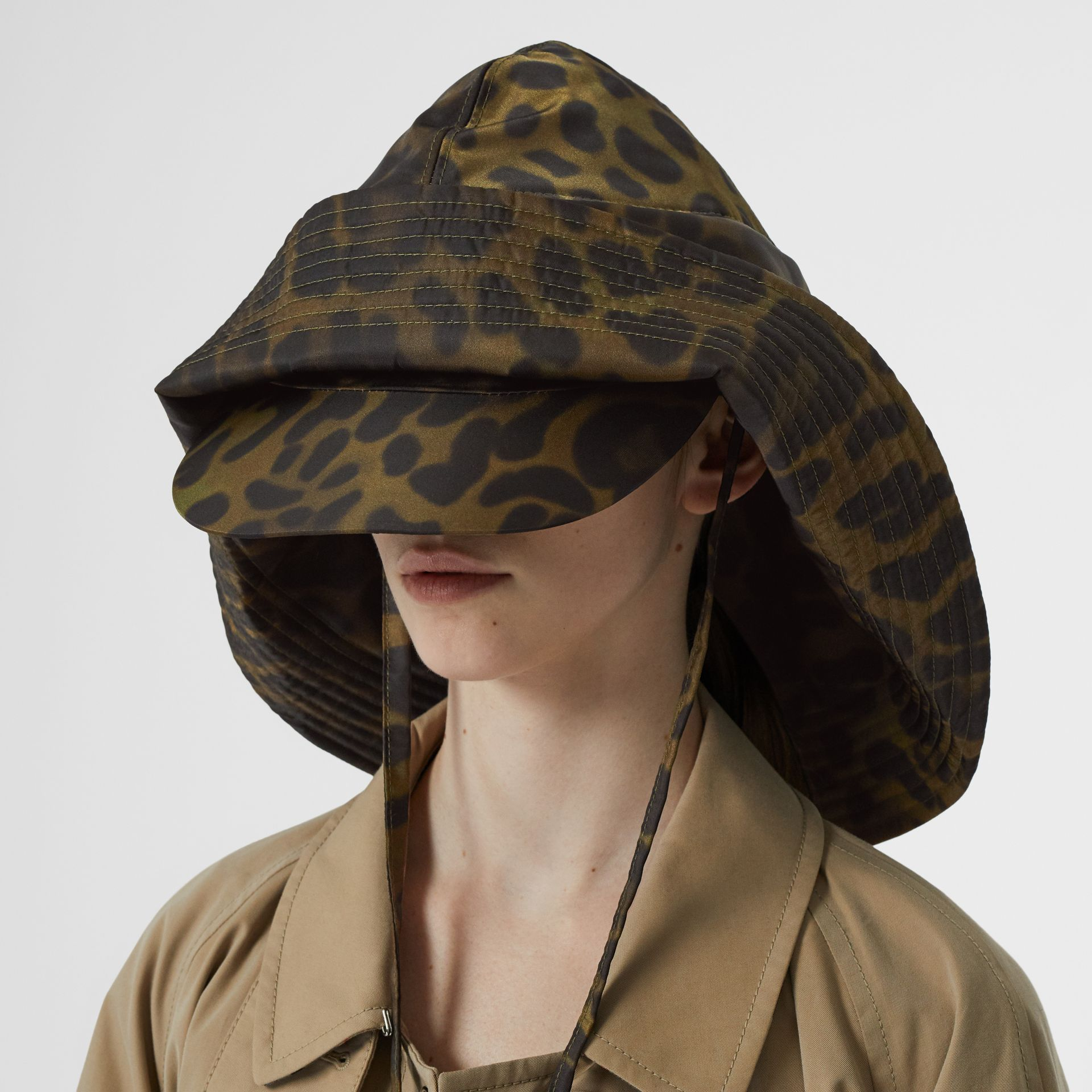 Animal Print Rain Hat in Light Green | Burberry - gallery image 2