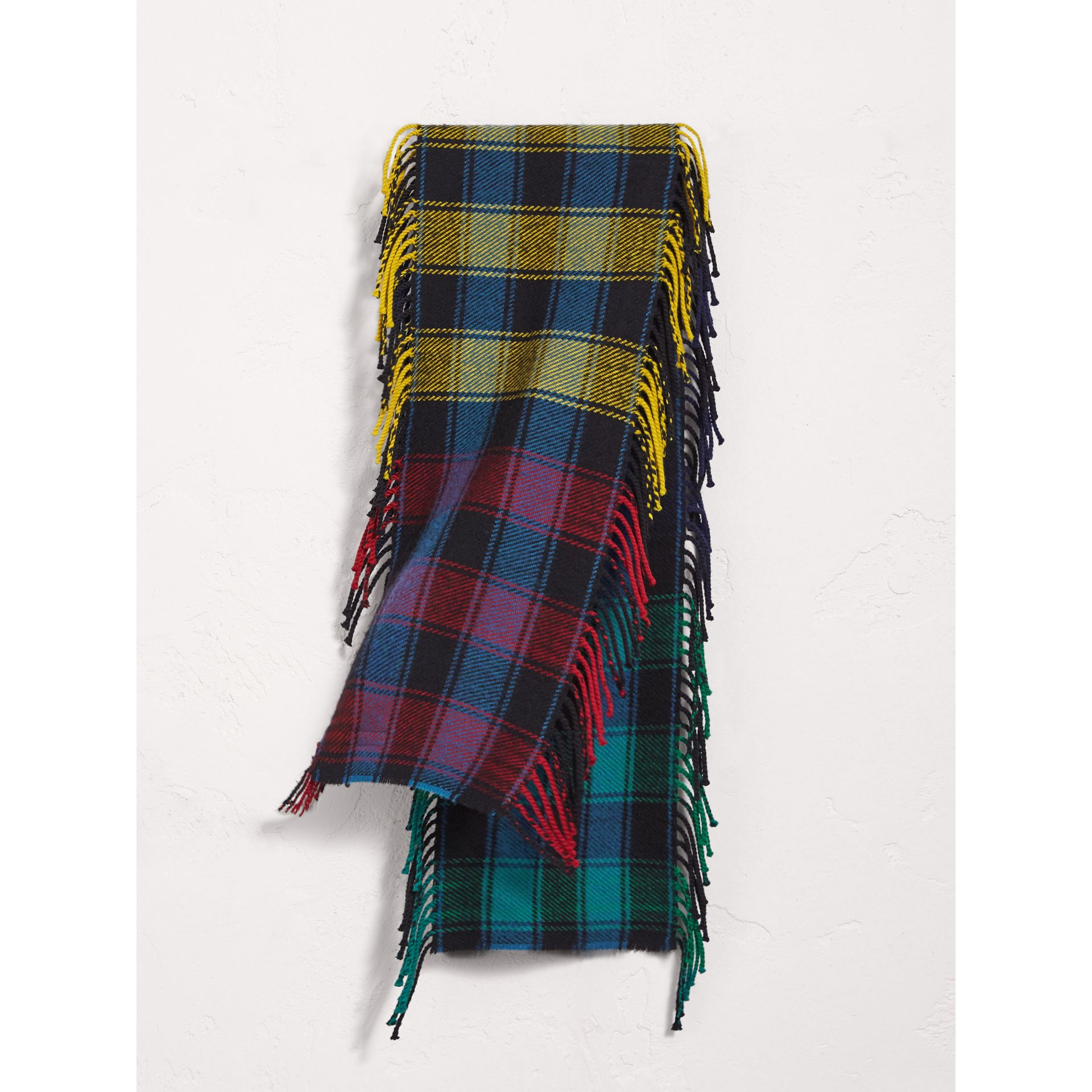 Colour-block Check Wool Scarf in Cobalt Blue - Girl | Burberry - gallery image 0