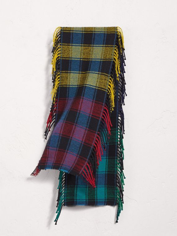 Colour-block Check Wool Scarf in Cobalt Blue