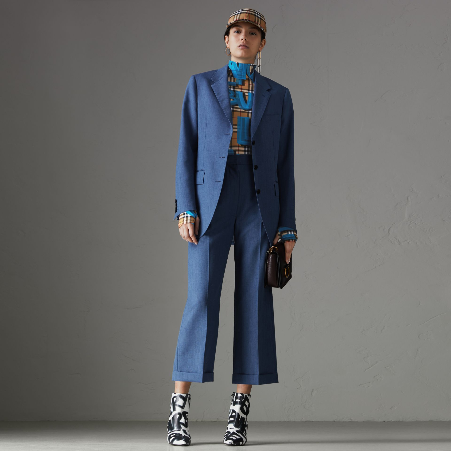 Wool Mohair Cropped Tailored Trousers in Bright Navy - Women | Burberry Singapore - gallery image 0
