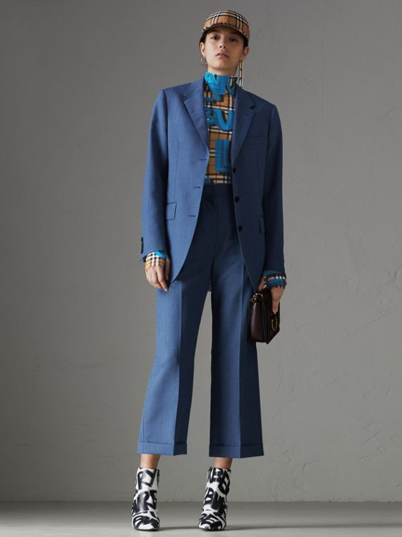 Wool Mohair Cropped Tailored Trousers in Bright Navy