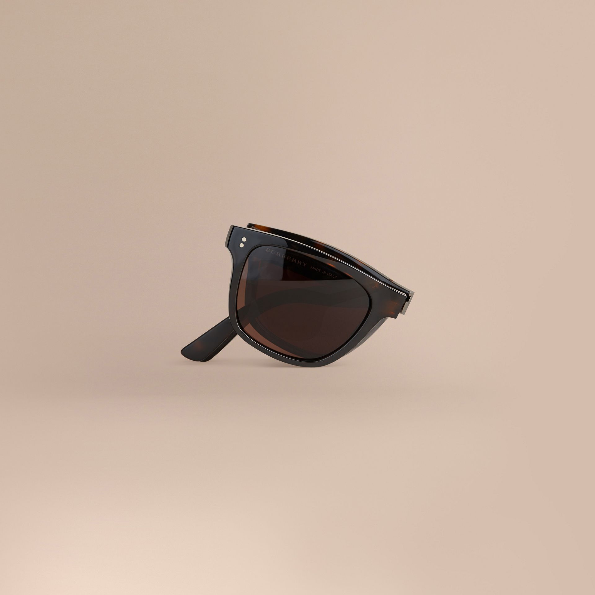 Folding Rectangular Frame Sunglasses in Dark Brown - Men | Burberry Hong Kong - gallery image 1