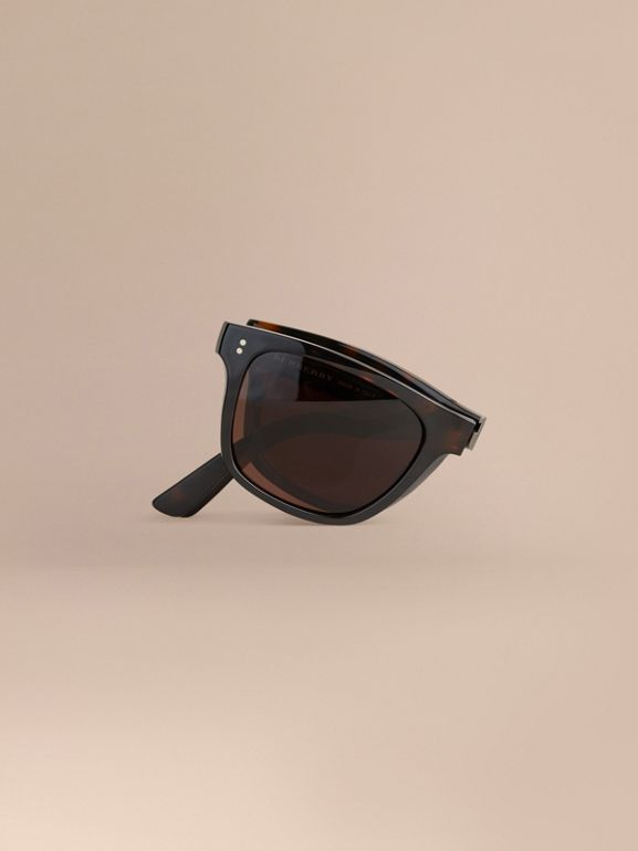 Folding Rectangular Frame Sunglasses in Dark Brown - Men | Burberry Canada - cell image 1