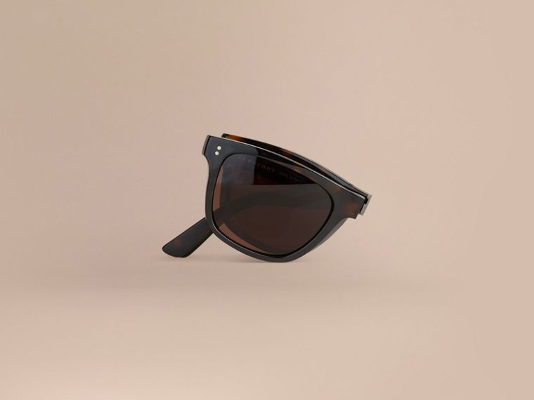 Folding Rectangular Frame Sunglasses in Dark Brown - Men | Burberry Singapore - cell image 1
