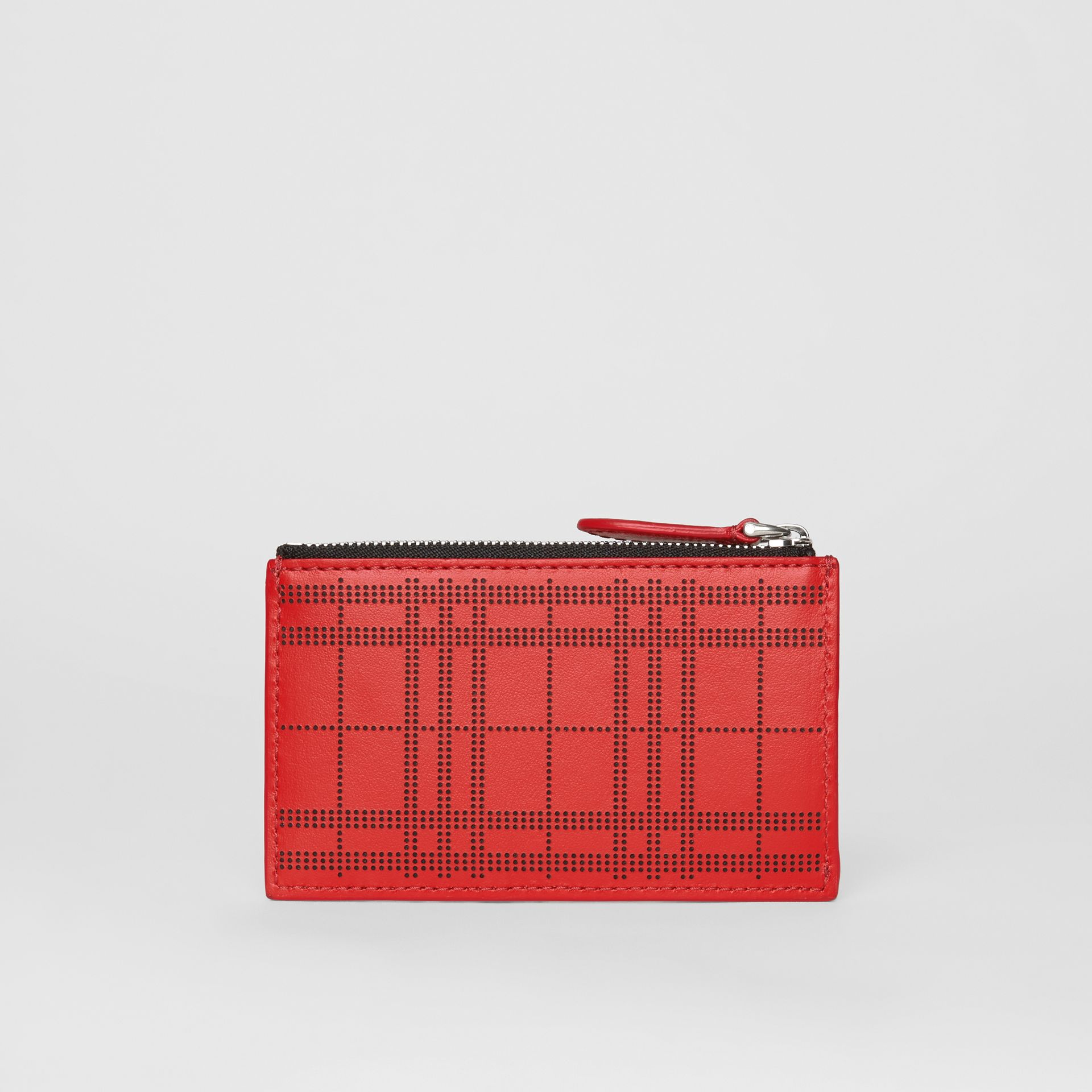 Perforated Check Leather Zip Card Case in Rust Red - Men | Burberry - gallery image 2
