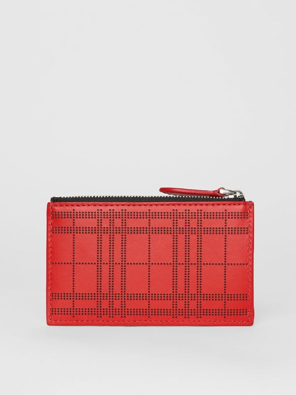 Perforated Check Leather Zip Card Case in Rust Red - Men | Burberry - cell image 2