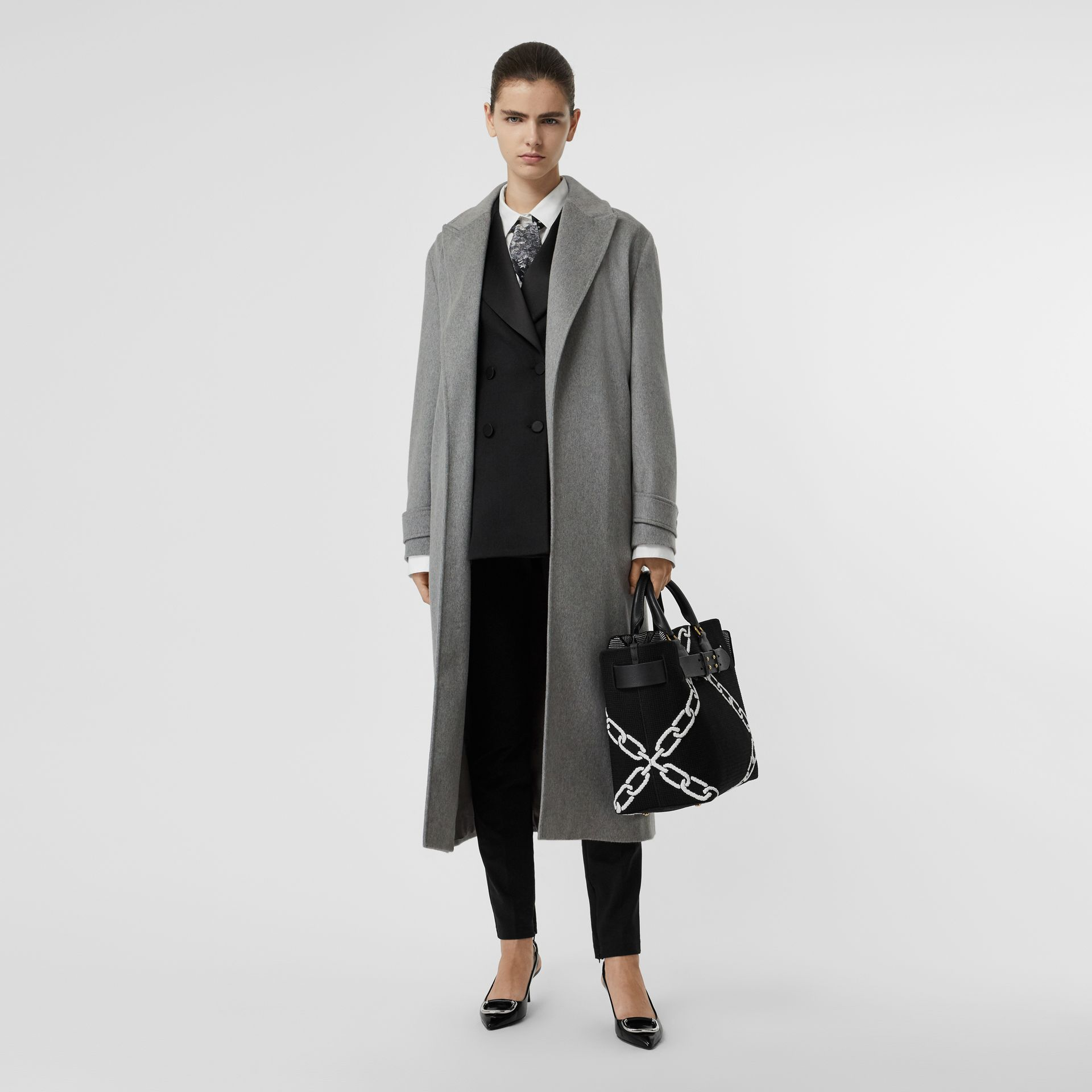 Peak Lapel Cashmere Wrap Coat in Pale Grey Melange - Women | Burberry - gallery image 5
