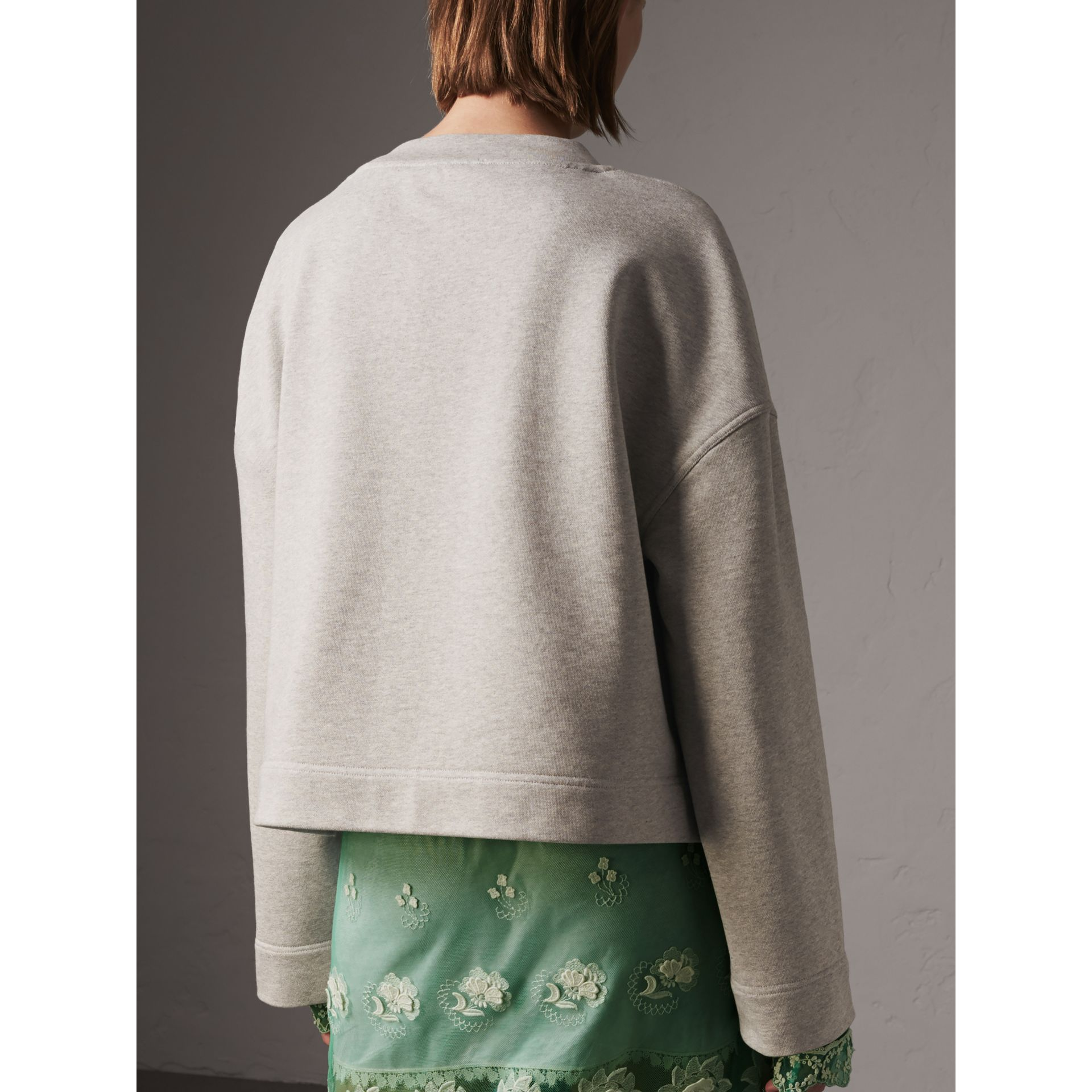 Cropped Sweatshirt with Crystal Brooch in Light Grey Melange - Women | Burberry Hong Kong - gallery image 2