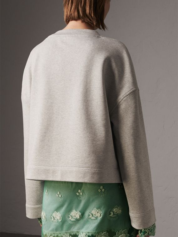 Cropped Sweatshirt with Crystal Brooch in Light Grey Melange - Women | Burberry Hong Kong - cell image 2