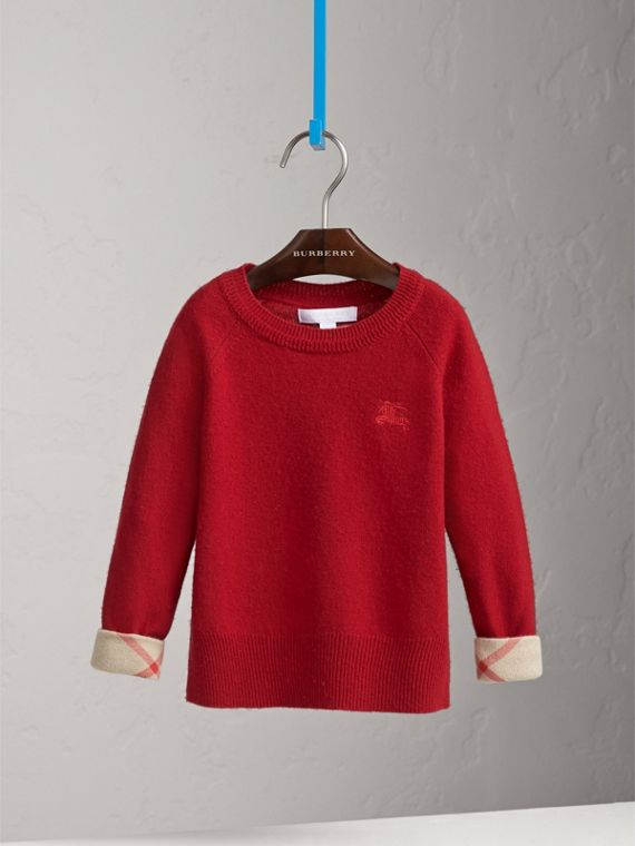 Check Cuff Cashmere Sweater in Parade Red - Girl | Burberry - cell image 2