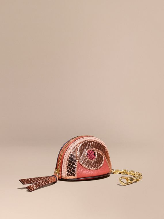 Python Print Leather Coin Case in Copper Pink