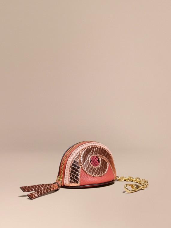 Münzbörse aus Leder mit Pythonmuster (Kupferrosa)