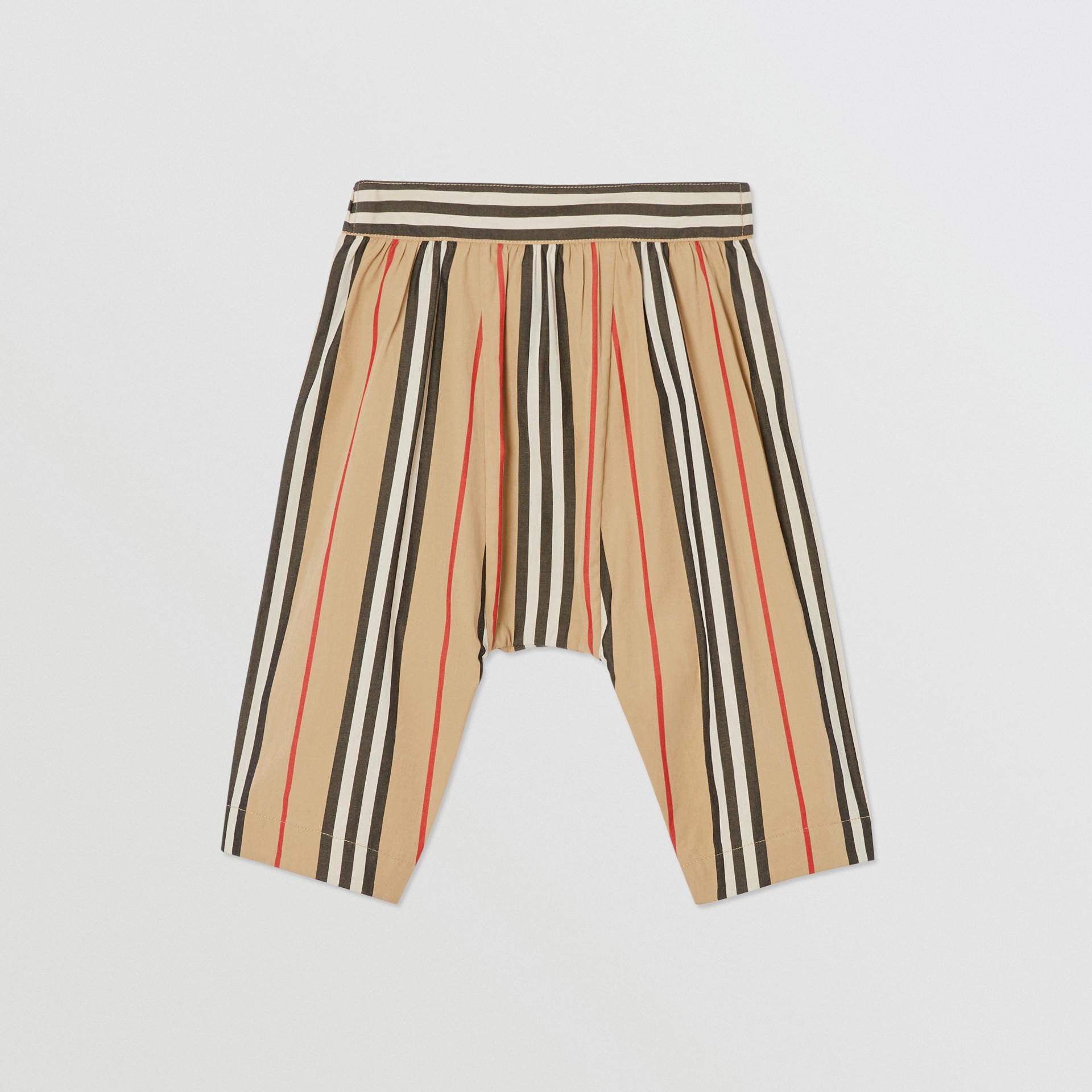 Pantalon en popeline de coton à rayures iconiques (Beige D'archive) - Enfant | Burberry Canada - photo de la galerie 0