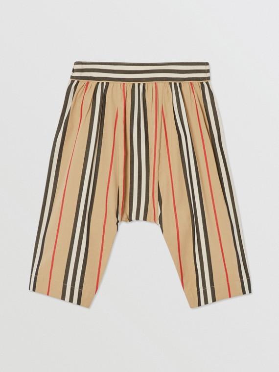 Icon Stripe Cotton Poplin Trousers in Archive Beige