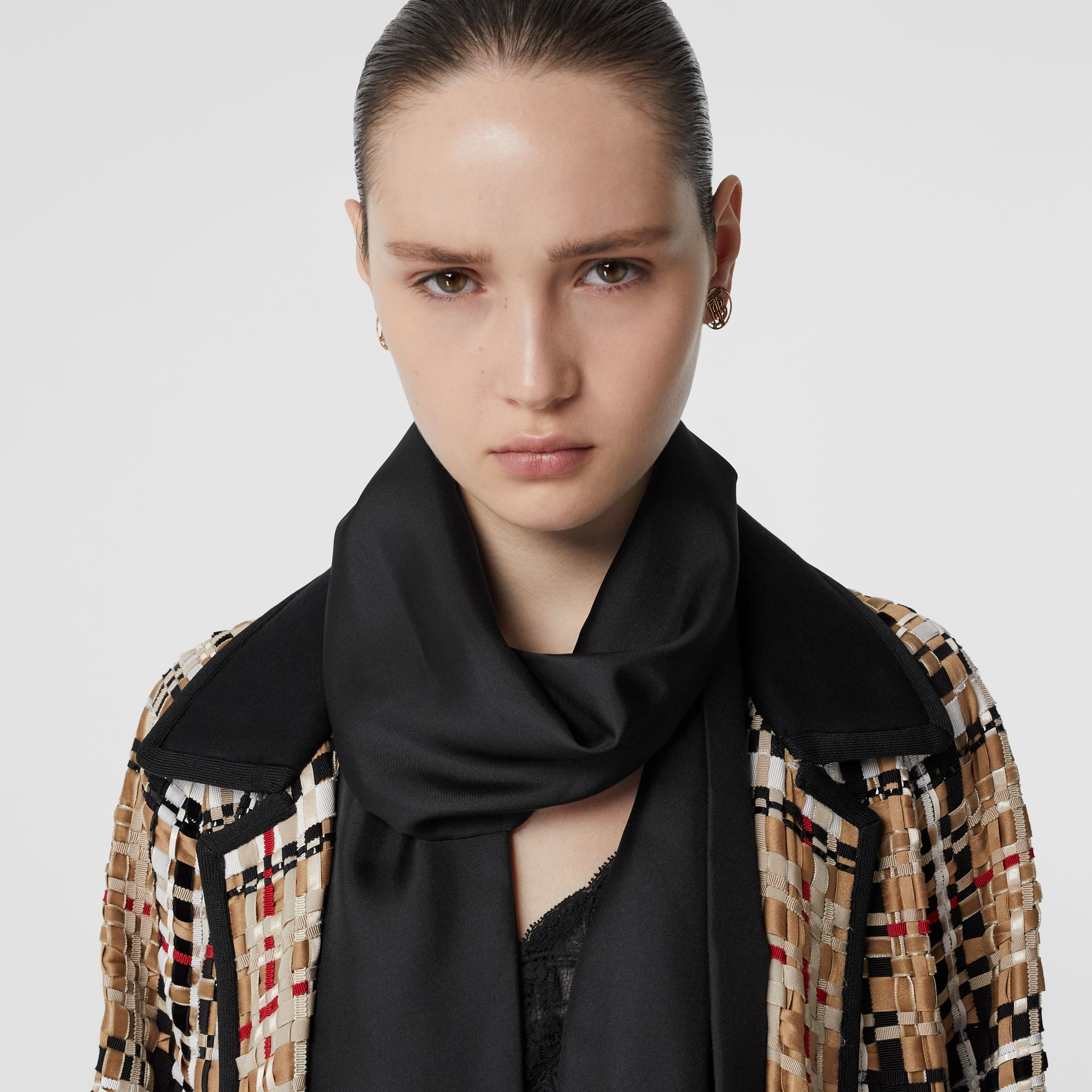Fringed Silk Skinny Scarf in Black - Women | Burberry - gallery image 2