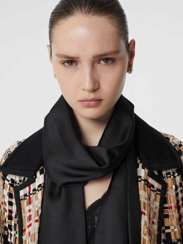 Fringed Silk Skinny Scarf in Black - Women | Burberry - cell image 2