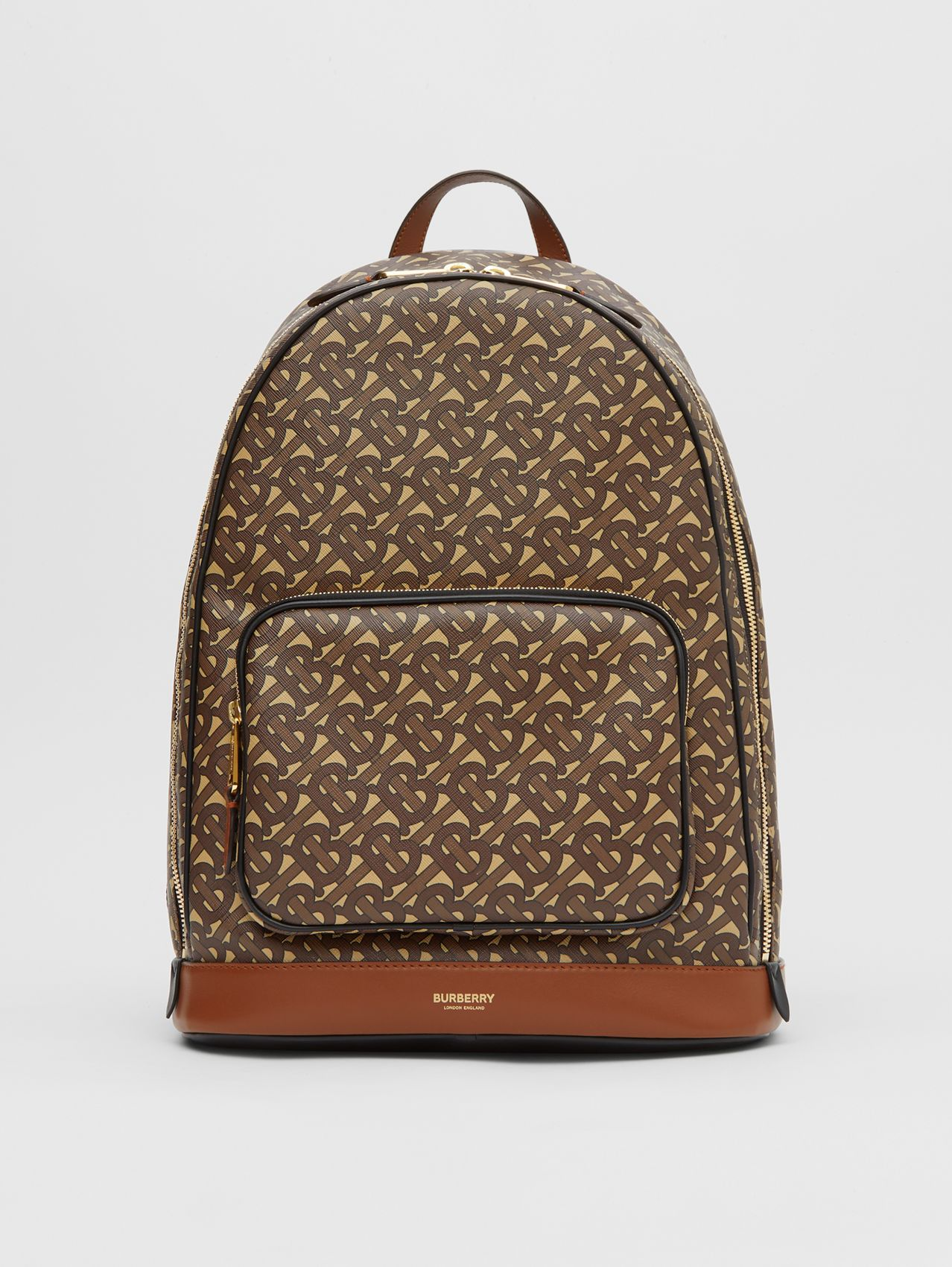 Monogram Print E-canvas and Leather Backpack in Bridle Brown