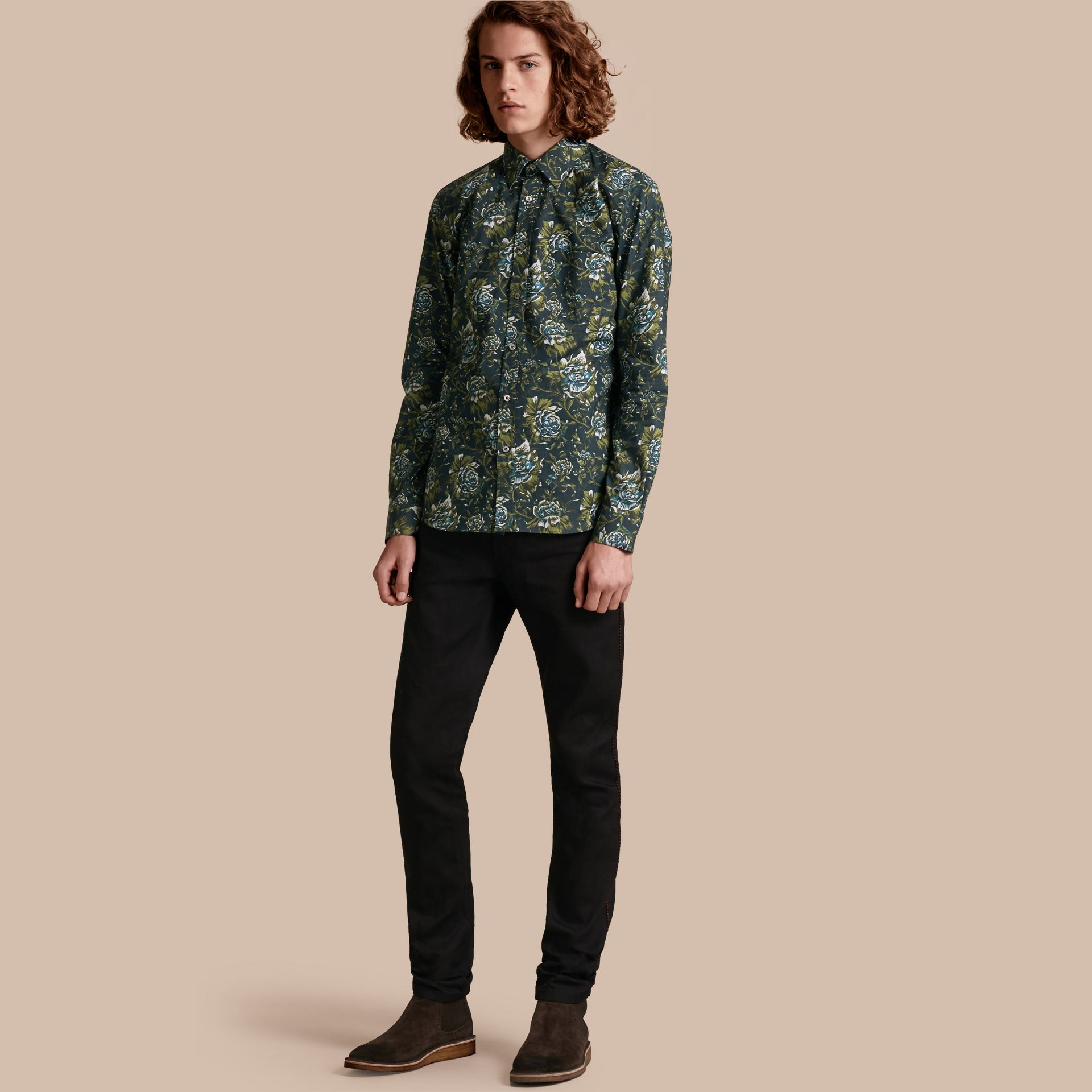 Dark teal green Peony Rose Print Cotton Poplin Shirt - gallery image 1