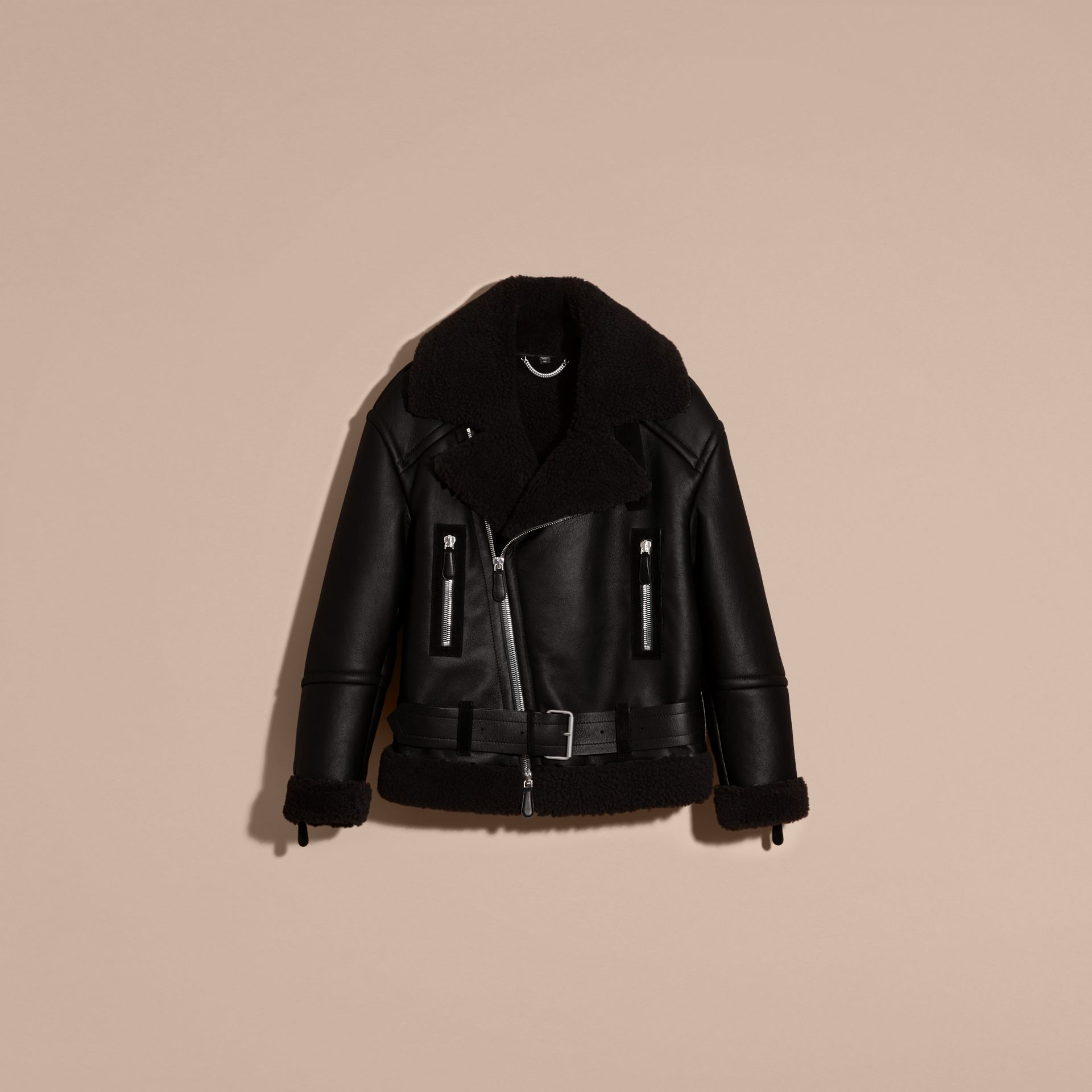 Black Oversize Shearling Flight Jacket - gallery image 4