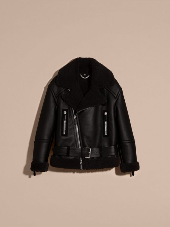 Black Oversize Shearling Flight Jacket - cell image 3