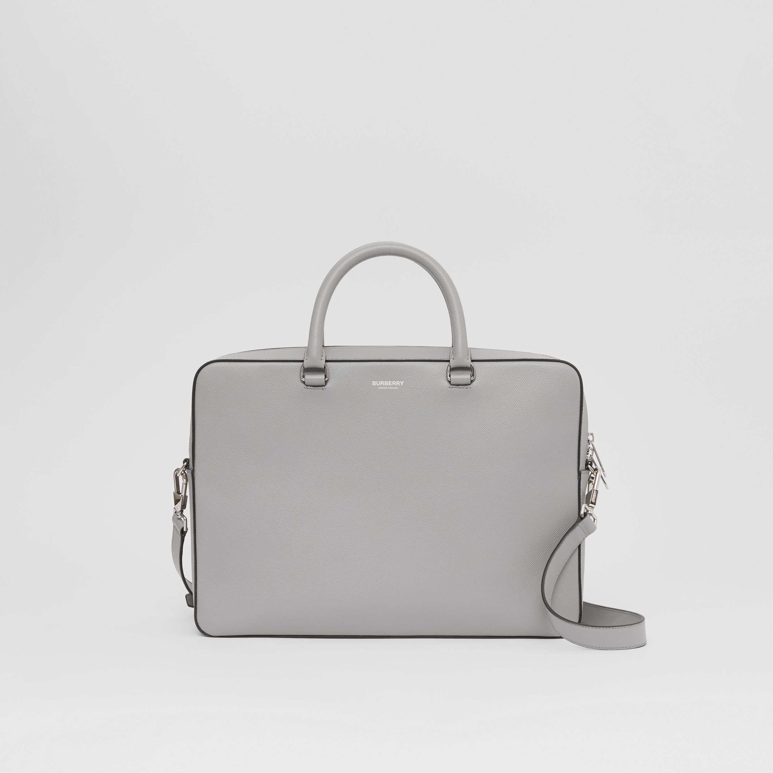 Grainy Leather Briefcase in Cloud Grey - Men | Burberry Hong Kong S.A.R. - 1