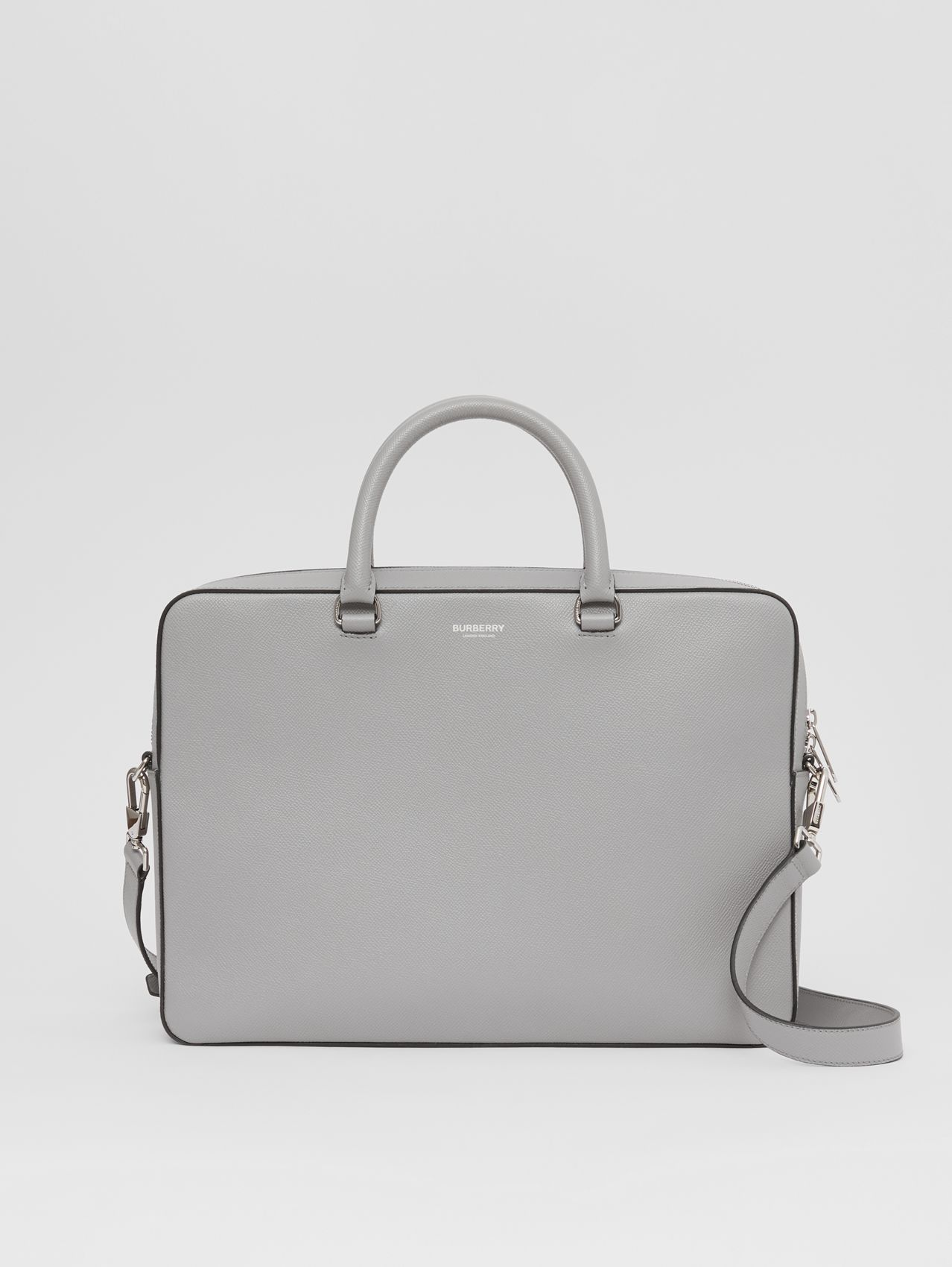 Attaché-case en cuir grainé in Gris Nuage