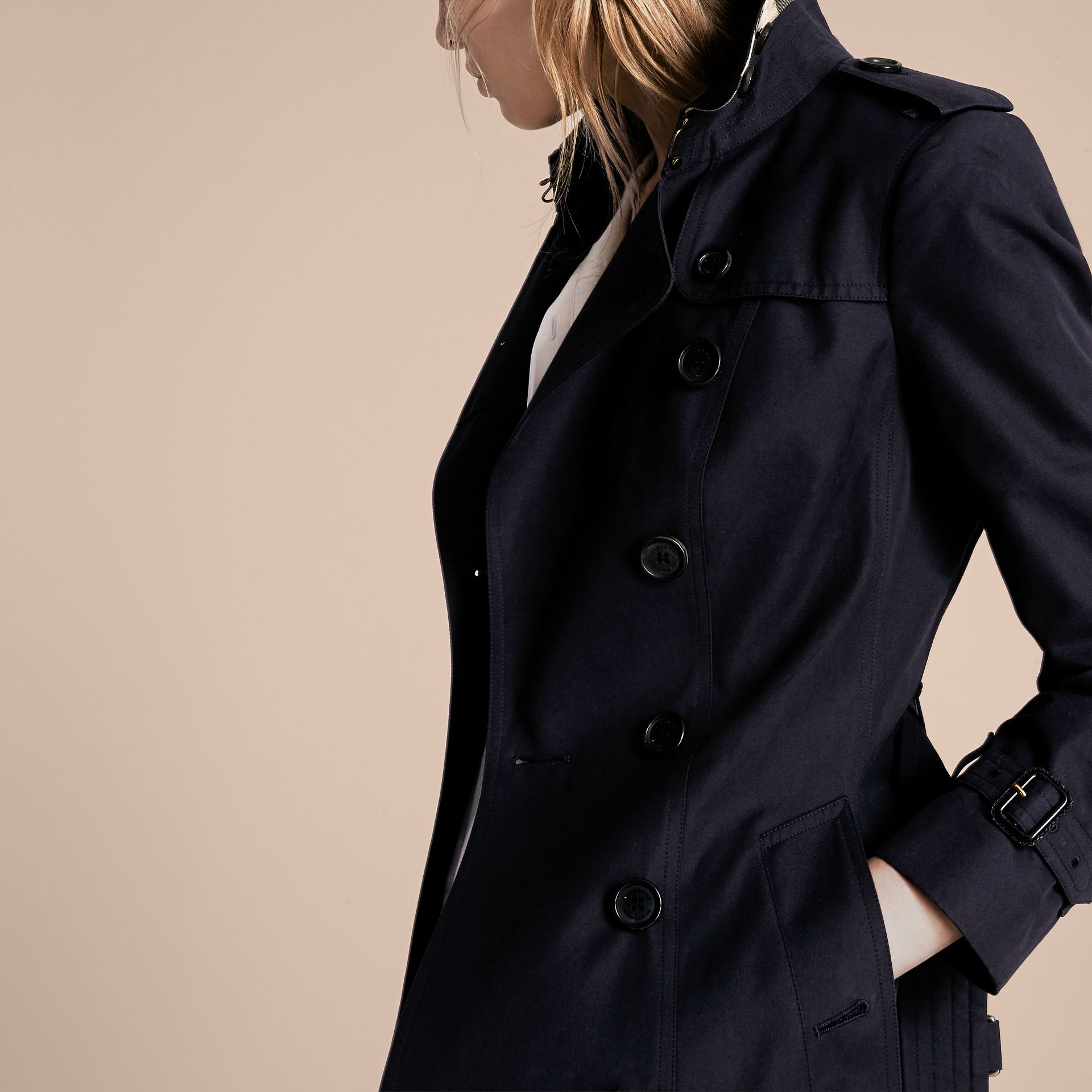 Navy The Sandringham – Mid-length Heritage Trench Coat Navy - gallery image 5