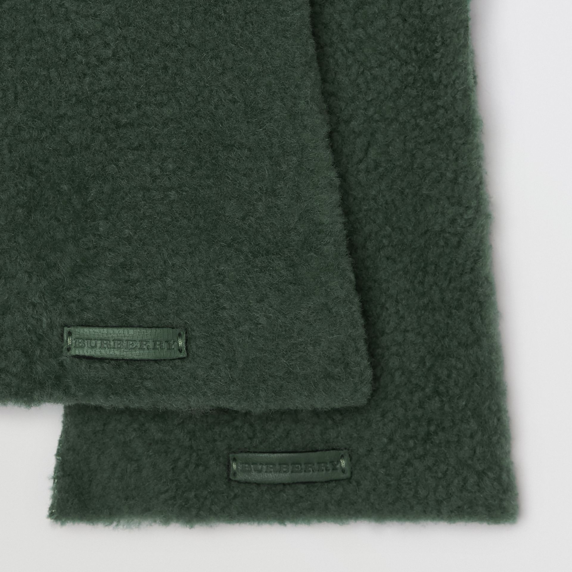 Shearling and Leather Gloves in Powder Green - Women | Burberry United Kingdom - gallery image 1