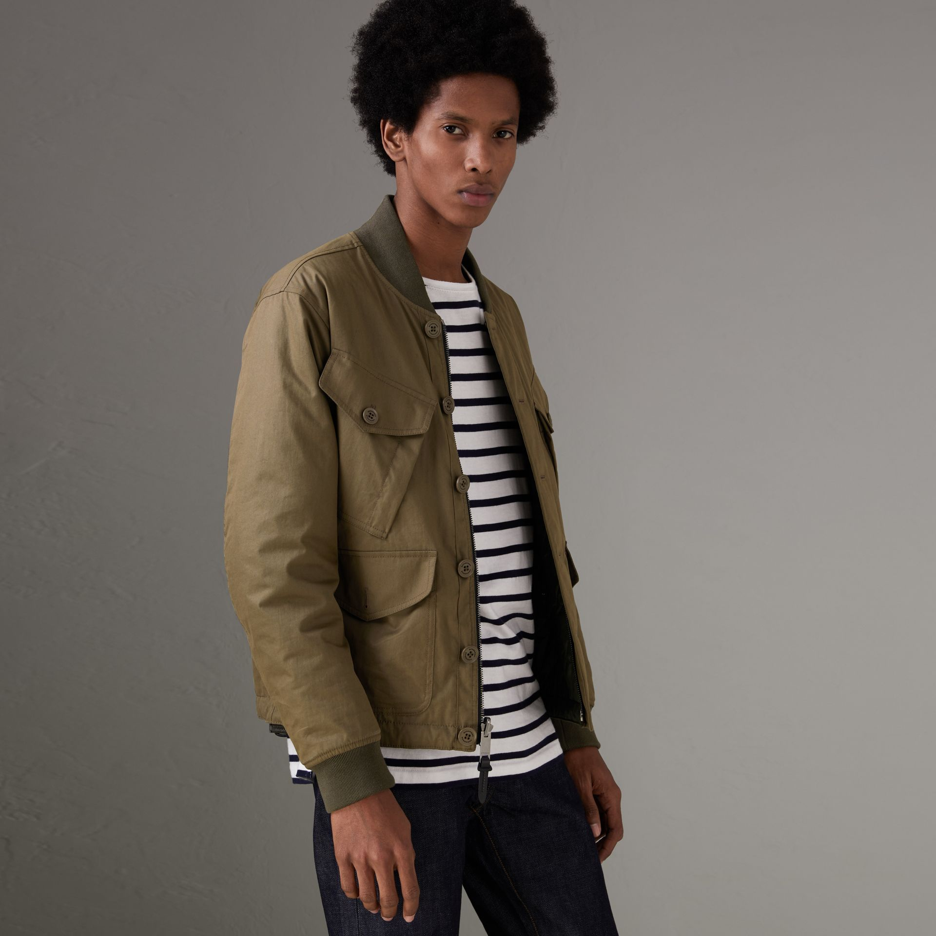 Reversible Quilted Bomber Jacket in Military Khaki - Men | Burberry United Kingdom - gallery image 0