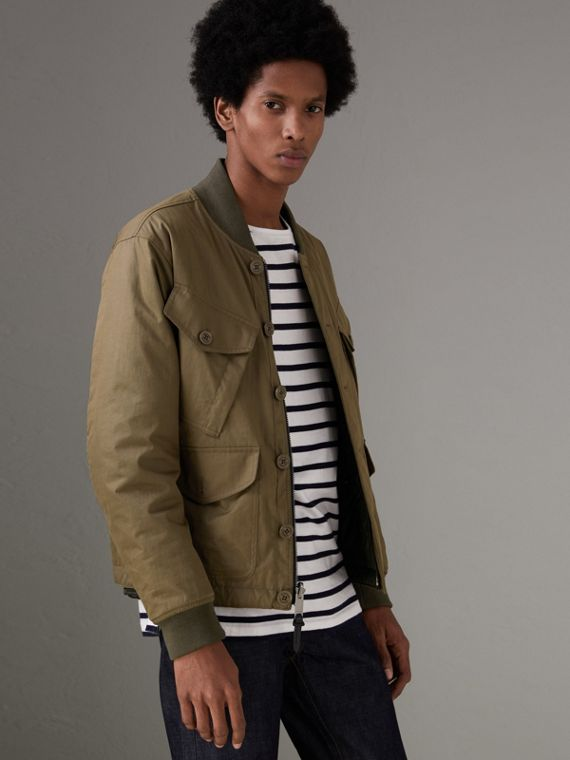 Reversible Quilted Bomber Jacket in Military Khaki