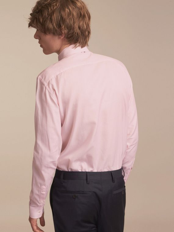 Slim Fit Striped Cotton Poplin Shirt City Pink - cell image 2