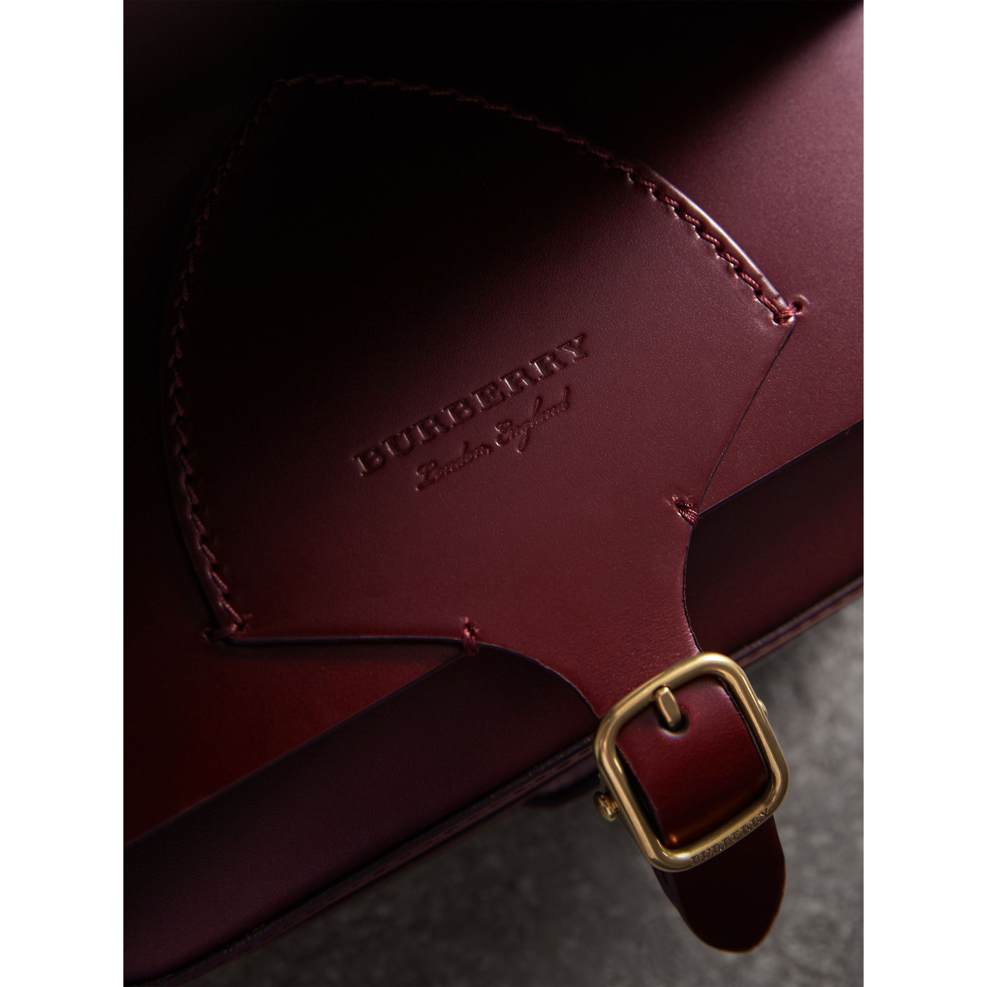 The Square Satchel in Bridle Leather in Deep Claret - Women | Burberry Australia - gallery image 2
