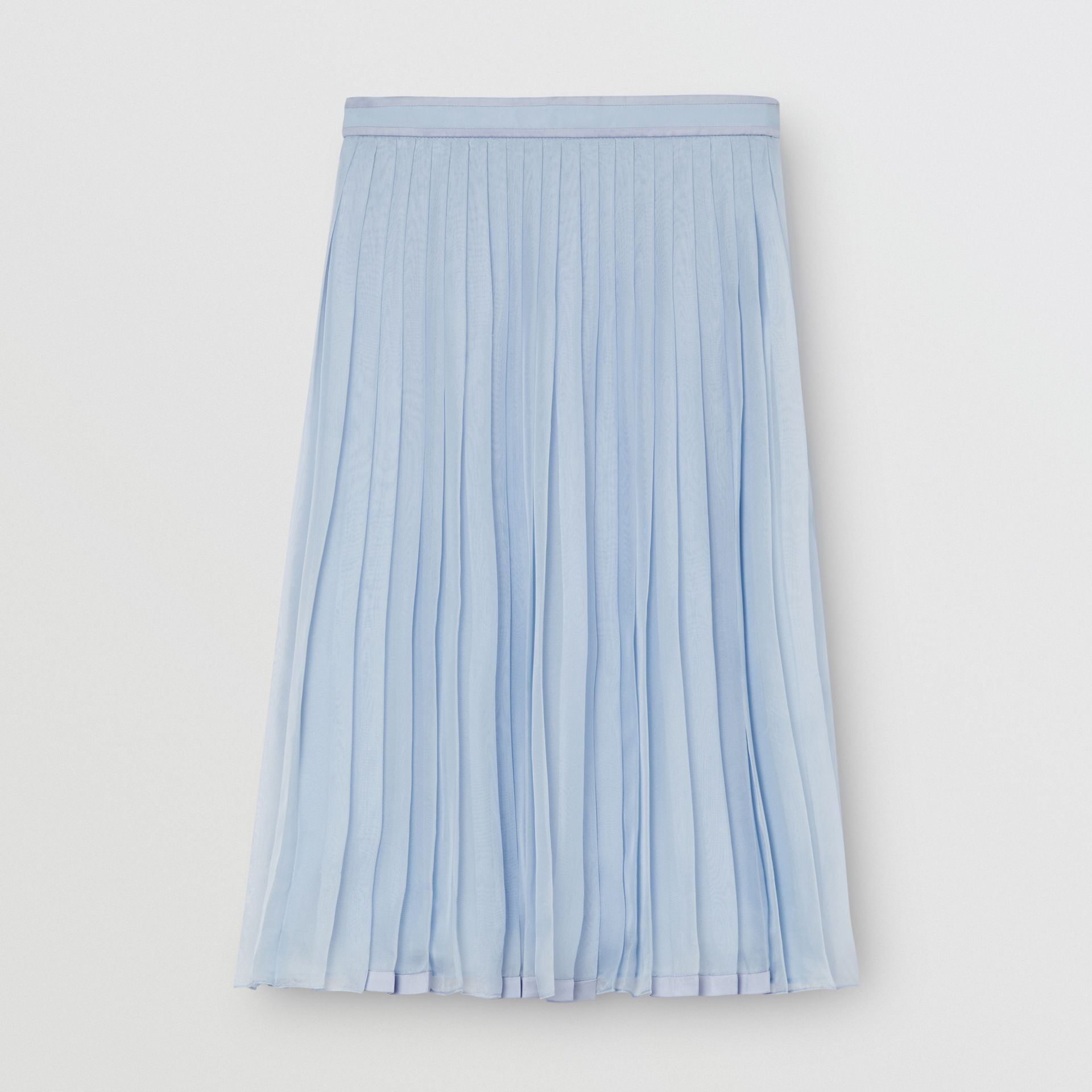 Contrast Trim Pleated Skirt in Pale Blue - Women | Burberry - gallery image 3