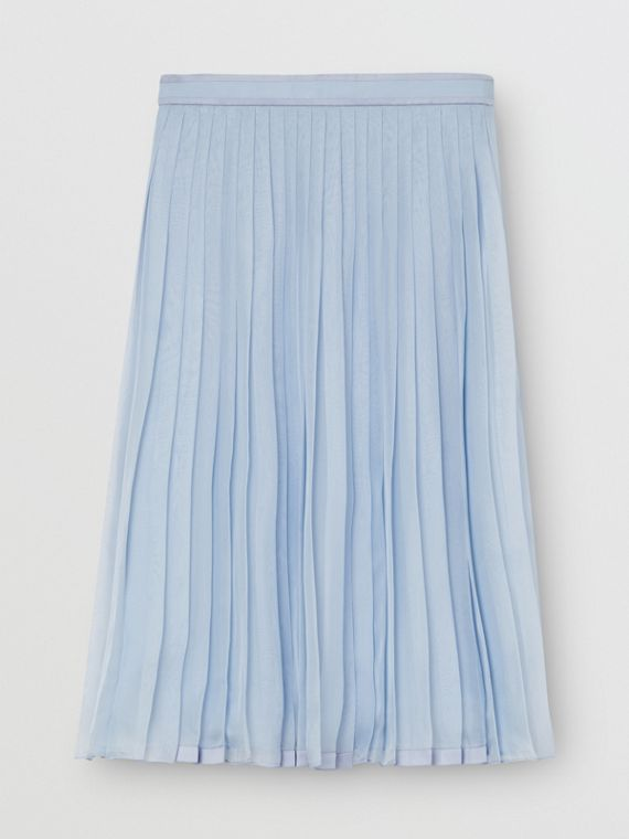 Contrast Trim Pleated Skirt in Pale Blue