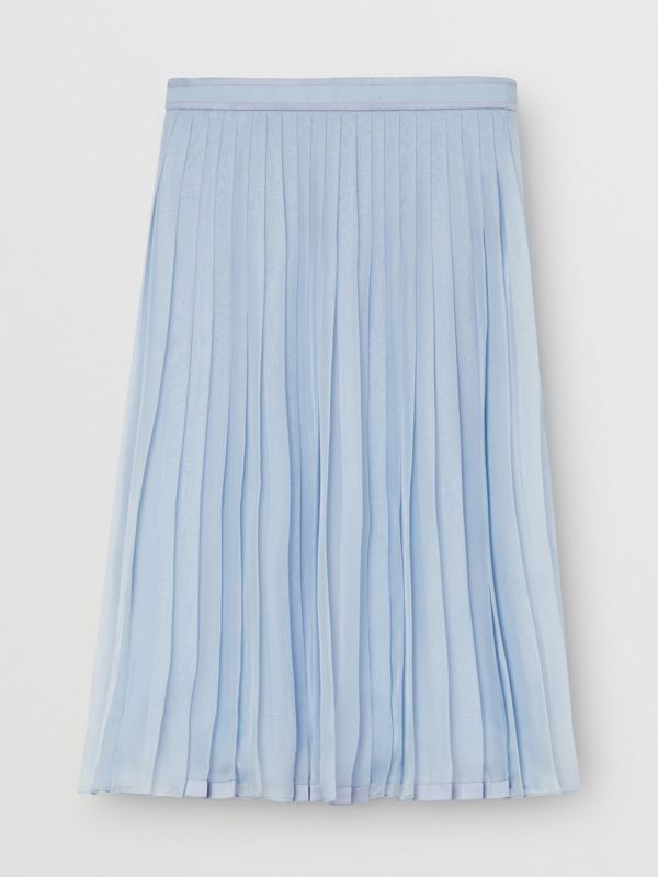 Contrast Trim Pleated Skirt in Pale Blue - Women | Burberry - cell image 3