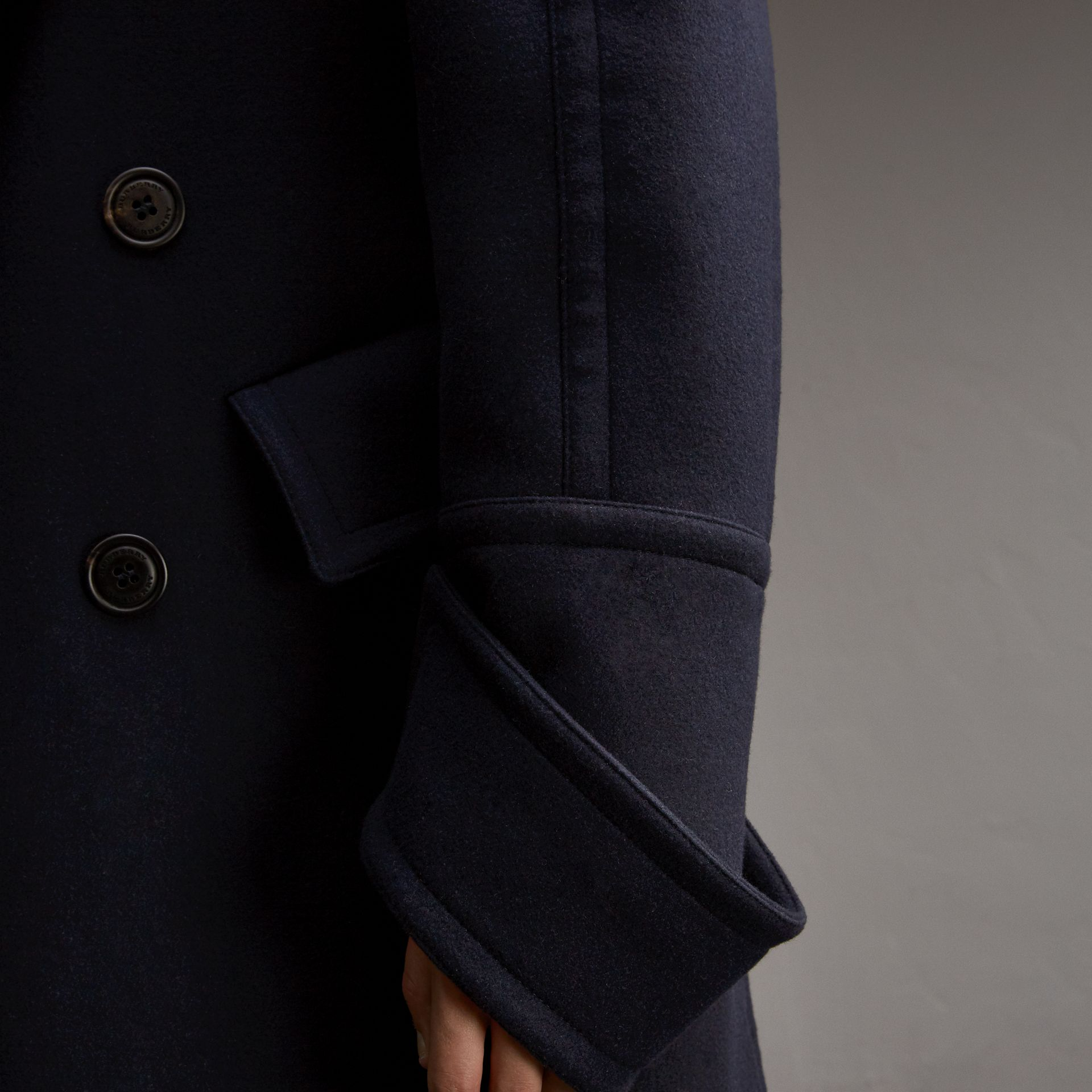 Detachable Cuff Stretch Cashmere Pea Coat - Men | Burberry - gallery image 5