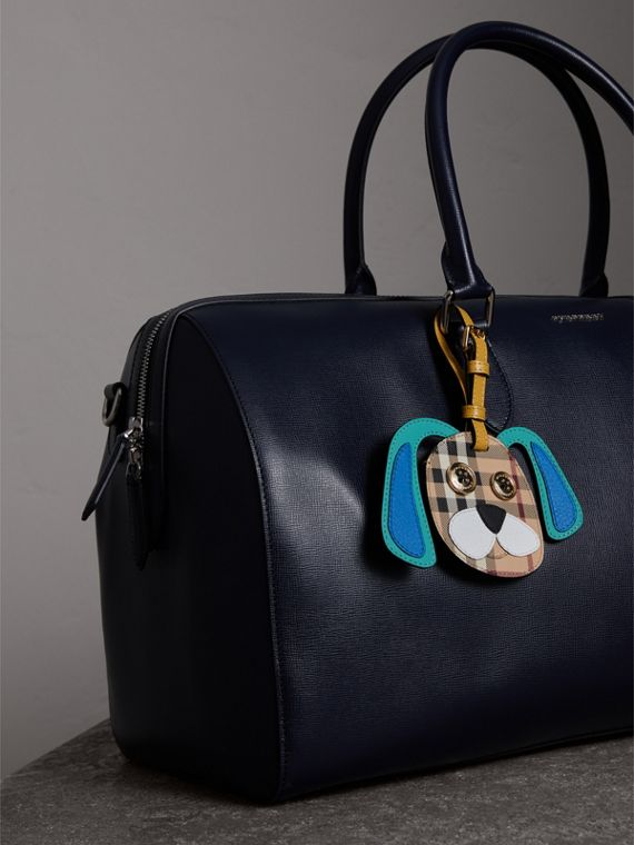 Dog Appliqué Leather and Haymarket Check Luggage Tag in Black | Burberry - cell image 2