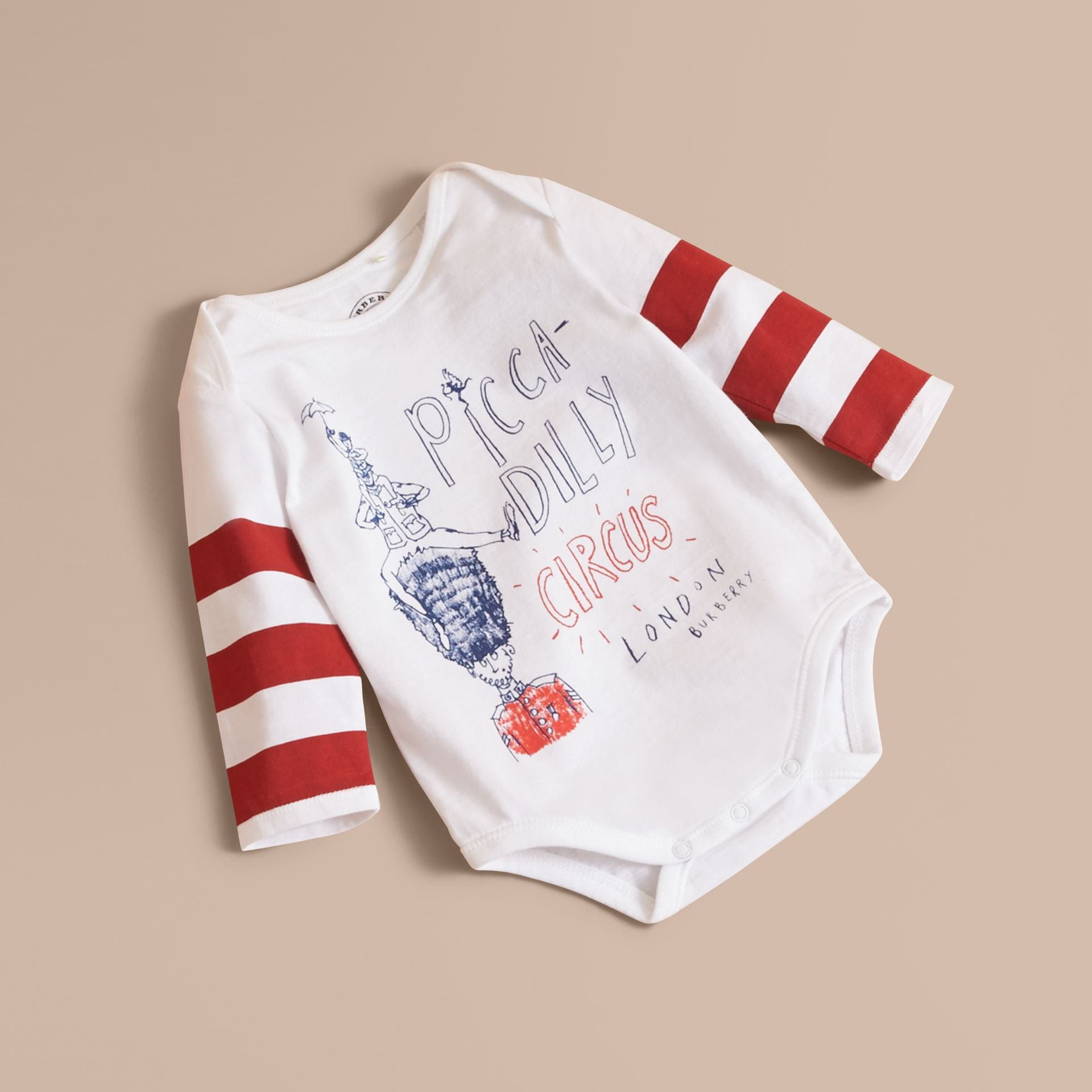 Long-sleeve London Icons Print Cotton Bodysuit in White - Children | Burberry - gallery image 1