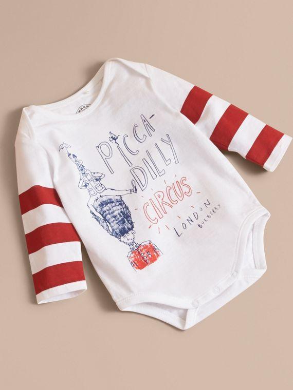 Long-sleeve London Icons Print Cotton Bodysuit in White