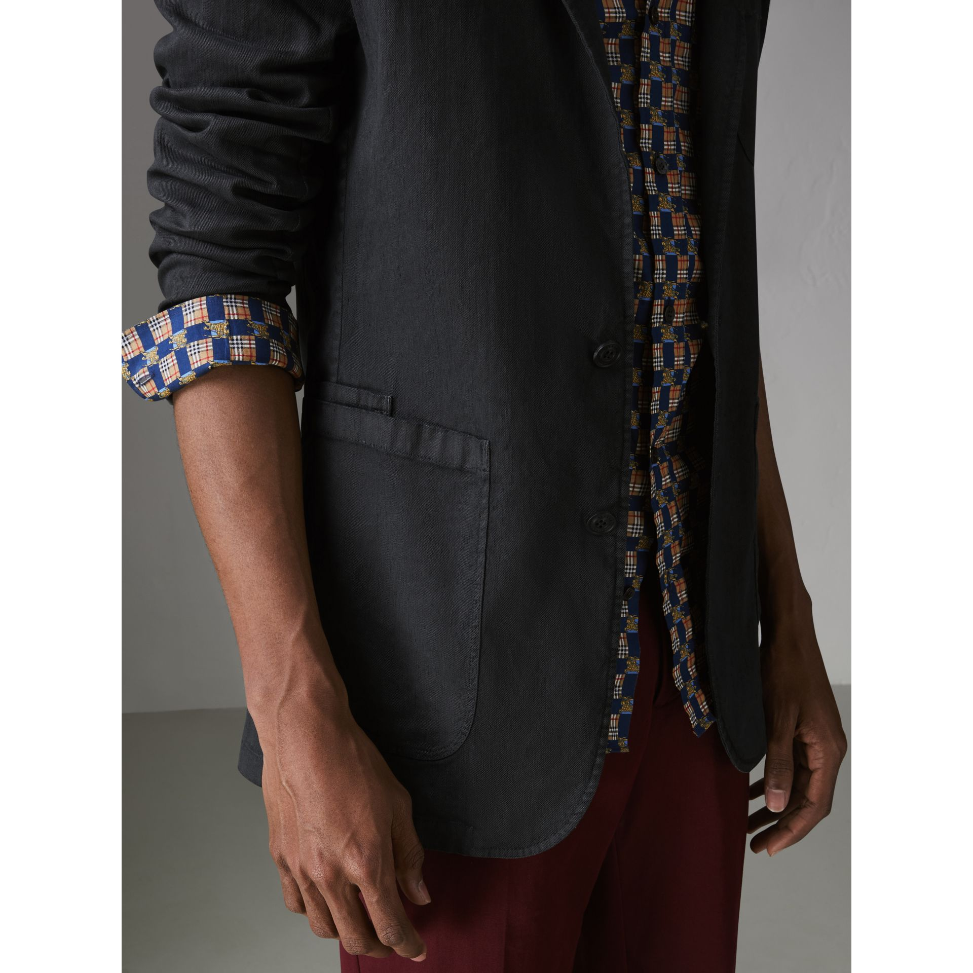 Slim Fit Linen Cotton Tailored Jacket in Dark Charcoal - Men | Burberry United Kingdom - gallery image 4