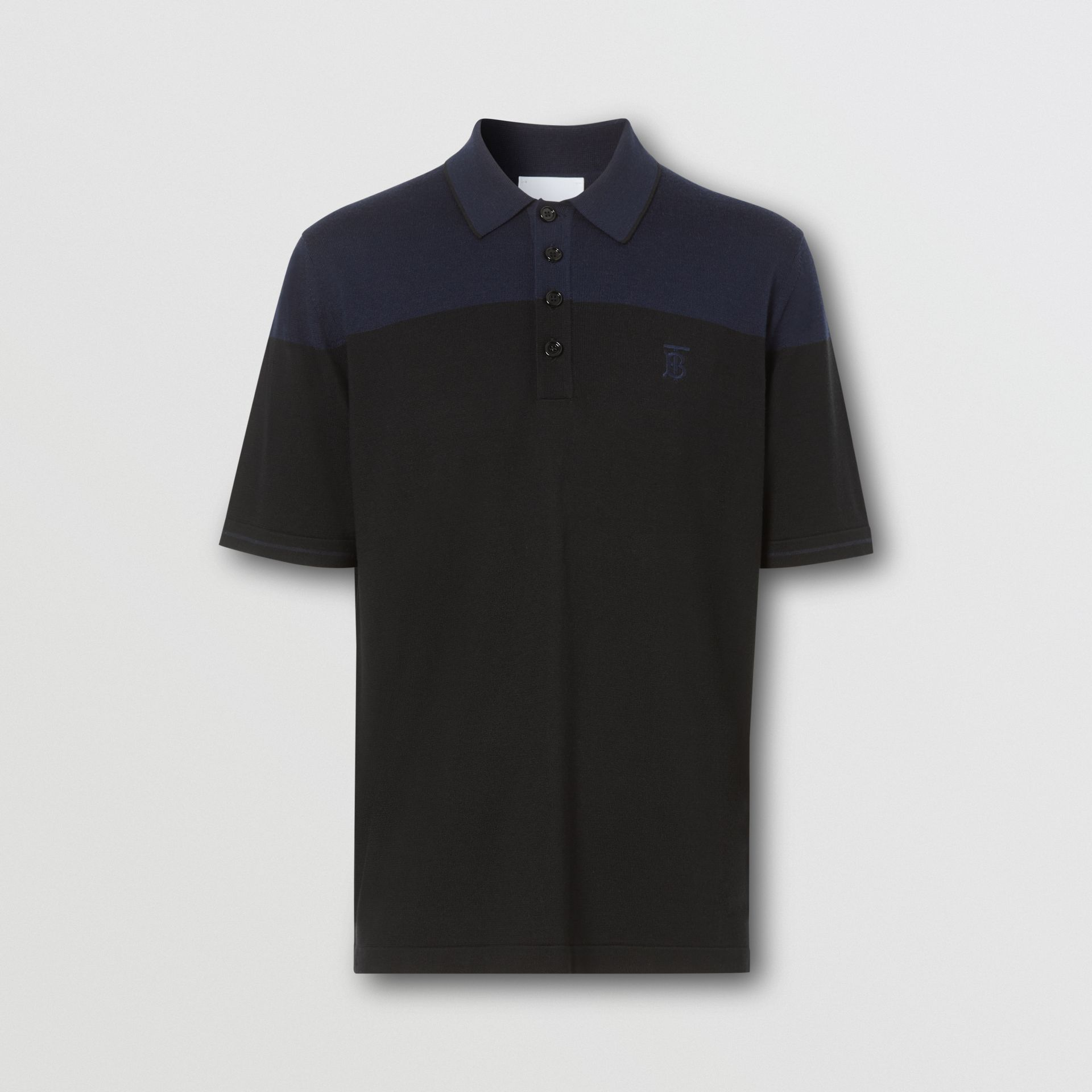 モノグラムモチーフ ツートン シルクカシミア ポロシャツ (ブラック/ネイビー) - メンズ | バーバリー - ギャラリーイメージ 3