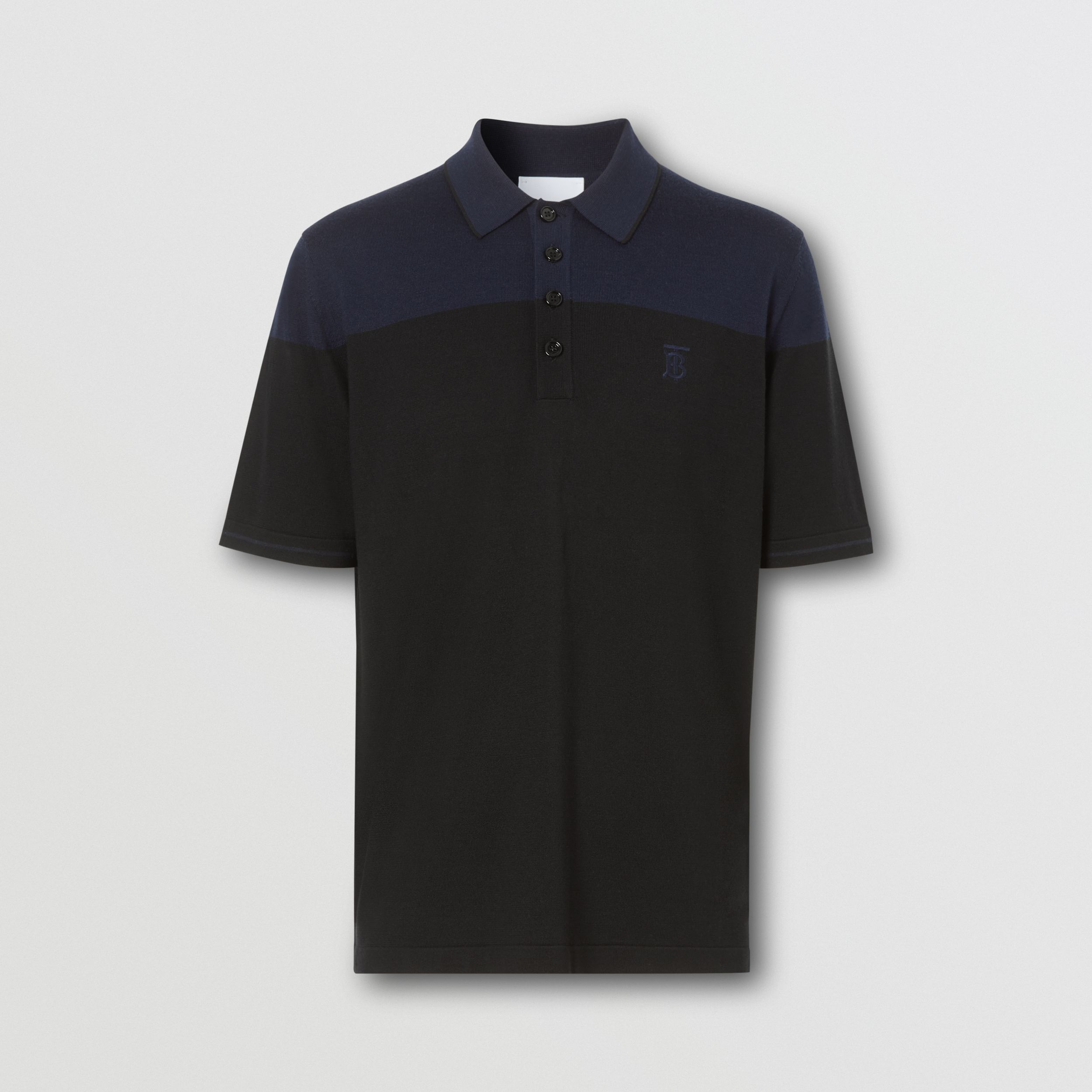 Monogram Motif Two-tone Silk Cashmere Polo Shirt in Black/navy - Men | Burberry - 4