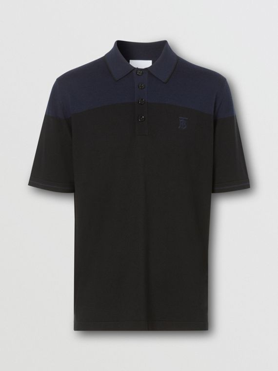 Monogram Motif Two-tone Silk Cashmere Polo Shirt in Black/navy