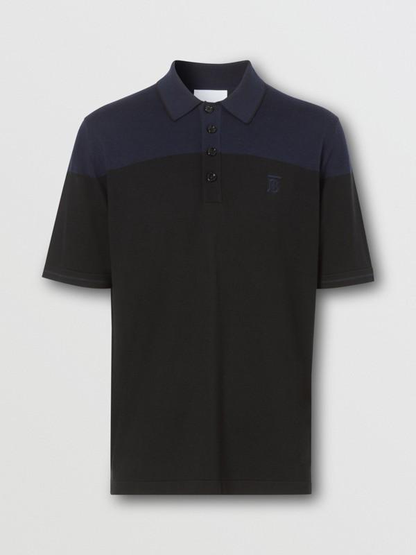 モノグラムモチーフ ツートン シルクカシミア ポロシャツ (ブラック/ネイビー) - メンズ | バーバリー - cell image 3