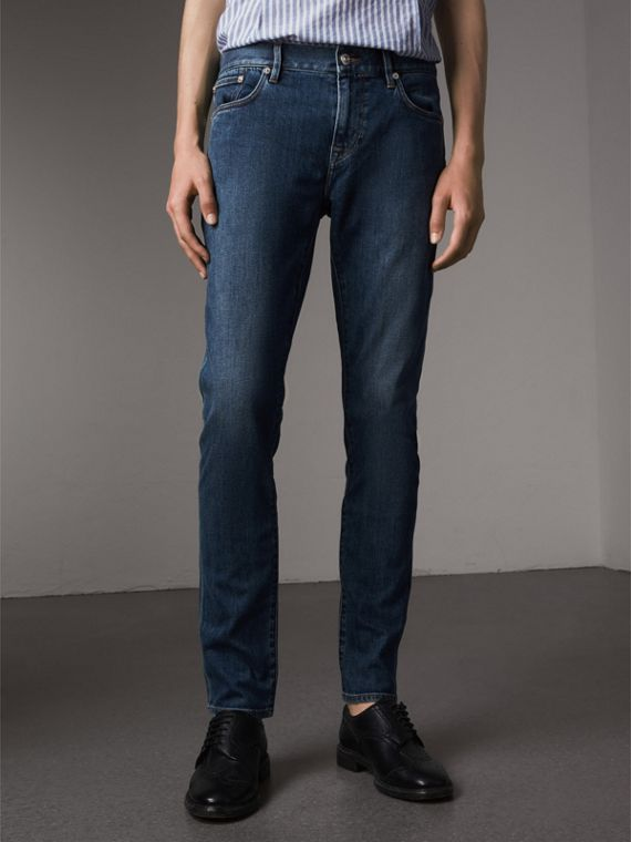 Jeans aderenti in denim giapponese - Uomo | Burberry